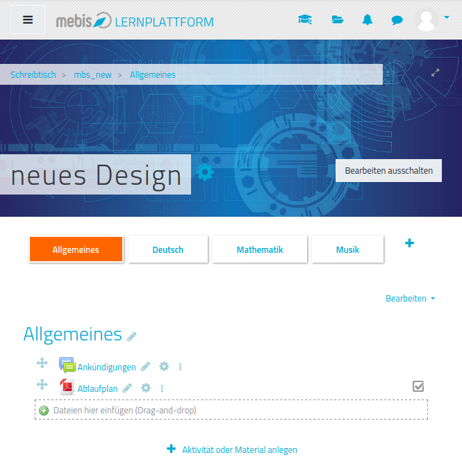 screenshot neues design
